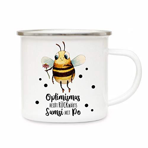 ilka parey wandtattoo-welt Emaillebecher Becher Tasse Camping Biene Sumsi Spruch Optimismus rückwärts. Kaffeetasse Geschenk Spruchbecher eb340
