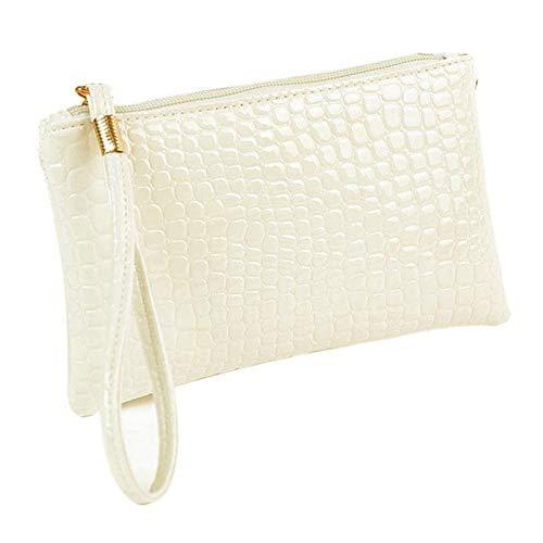 Boner Tas lederen rits Dames Coin Bag Clutch handtas Portemonnee 18cm lange portemonnee tas, wit