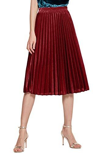CHARTOU Women's Premium Metallic Shiny Shimmer Accordion Pleated Long Maxi Skirt (X-Small, Red-Knee Length)