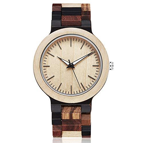 LCDIEB Reloj de Madera Hombre, Pulsera de Pulsera de Madera Natural Simple, Relojes de Cuarzo para Hombre, Reloj de Madera Colorido Retro Creativo Informal para Hombre, Reloj de Madera para Hombre 2