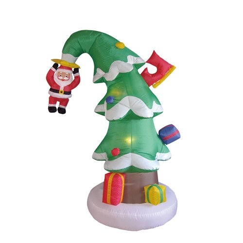 Blow Up Christmas Tree with Hanging Santa Claus