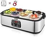 Aicok yogurtera con pantalla LCD y 8 vasos de 180 ml, 1440 ml, yogurtera de acero inoxidable con regulación de temperatura, temporizador de 48 horas, apagado automático, 30 W