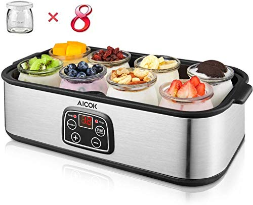 AICOK Joghurtbereiter LCD-Display Joghurt Maker mit 8 Portionsgläser à 180 ml, 1440 ml Joghurtmaschine aus Edelstahl mit Temperaturregelung, 48-Stunden-Timer, automatische Abschaltung, 30 Watt
