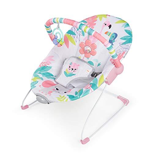 Bright Starts, Hamaca bebé Flamingo Vibes, con vibraciones y arco de juego, niñas