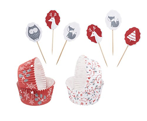 Kitchen Craft d'hiver Woodland Caissettes pour Cupcakes et gâteaux, Lot de 48, Multicolore