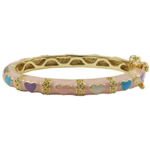 Ivy and Max Gold Finish Pink Enamel Multi Hearts Girls Bangle Bracelet (35 mm: Age 0-10 Months)