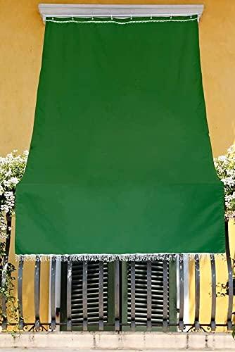 eurosti Toldo de color liso para balcón, porche o terraza con anillas y ganchos, tejido resistente de exterior, medidas 150 x 290 cm, color verde