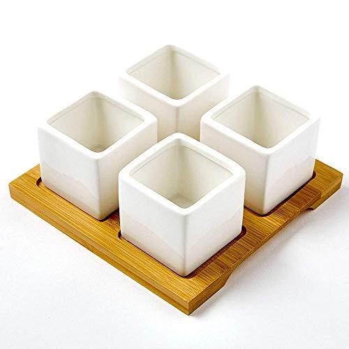 KaiKai Keramik Saftige Blumentopf Platz Gürtel Bambus Tray Porzellan Set Weiß Fleshy Wascbecken Mini Blumenpflanzgefäße Heim und Büro Desktop Fensterdekoration Hochzeit Geburtstag