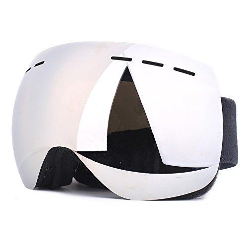 V VILISUN Skibrille Für Damen und Herren, Snowboard Brille Mit Anti-Fog und UV Schutz (Silber)