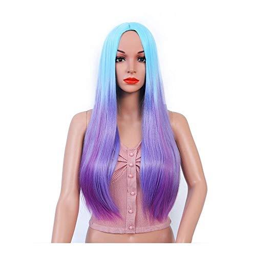 ZHANGJINPING - Cheveux longs et lisses dégradés bleus