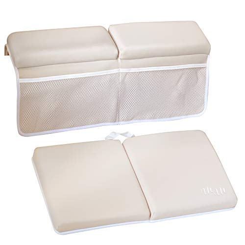 Bath Kneeler and Elbow Rest Pad with Bath Spout Cover - Premium Quality Extra Thick Quick Dry Kneeler Pad for Baby Bathtime Bath Spout Cover - Baby Bathtub Accessories Tan - Baby Bath Essentials