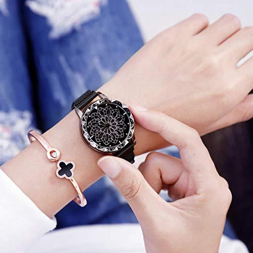 Powzz ornamento Time to run reloj, señoras imán con reloj-negro