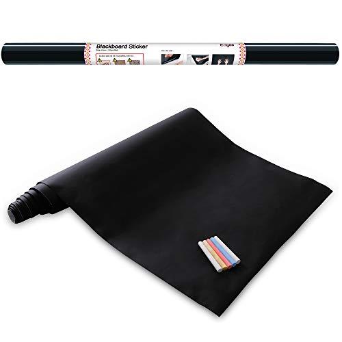 Vinilo Pizarra Negra- Pizarra Adhesiva de Papel Adherente - 60cm x 310cm y 5 tizas - Ezigoo