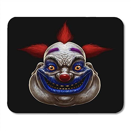 Tapis de souris rouge horreur méchant effrayant clown gros clown Halloween cirque sur masque effrayant