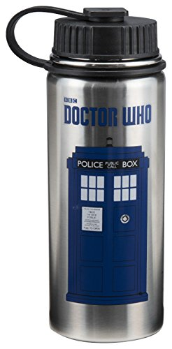 Vandor Doctor Who 18 Ounce Vacuum Insulated Stainless Steel Bottle, Silver