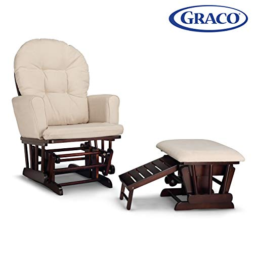 Graco Parker Semi-Upholstered Glider and Nursing Ottoman, Espresso/Beige Cleanable Upholstered Comfort Rocking Nursery Chair with Ottoman