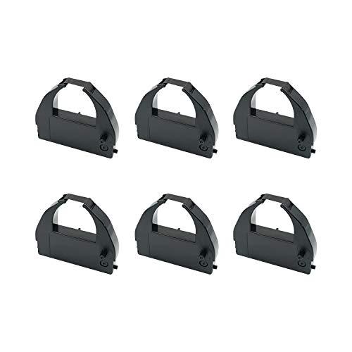 Printerfield Lot 6 MJR8000 Printer Ribbon Cartridge Compatible with Amano DX7000 Series/MR7000 Series(MR7500/MR7600)/MJR7000/MJR8000/MJR8100 - Black