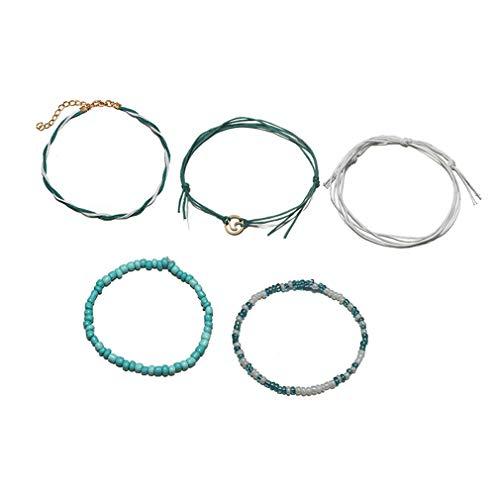 YAZILIND Moda Calzado Cuero Cuerda Multicapa Pulsera Conjuntos de Mujeres joyería(5pcs)