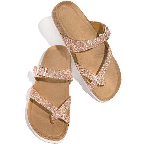 JFFFFWI Sandalias para Mujer, cuñas, Pantuflas, Piel sintética, Punta Abierta, Punta de Clip, Zapato ortopédico con Cadenas de Diamantes de imitación, Sandalias Planas de Gladiador, Zapatos de Boda,