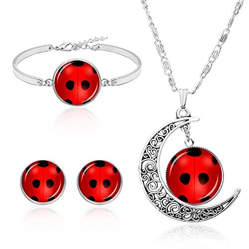 Conjunto de Collar de Luna Hilloly 4Pcs Juego de Joyería de Mariquita Pulsera con Colgante de...