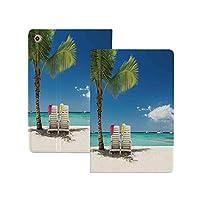 iPad Pro 12.9 ケース 2020 海辺の装飾、Remote子の木の椅子とボートのパノラマ写真、ブルーグリーンとリモートビーチのリラックスシーン 海辺の装飾 軽量 TPU レザー スマート 耐衝撃 傷防止 クリア ハード スタンド オートスリープ ウェイクアップ 機能 ブルーグリーンとリモートビーチのリラックスシーン