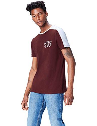 Marca Amazon - find. Camiseta Vintage para Hombre, Rojo (Ox Blood), S, Label: S