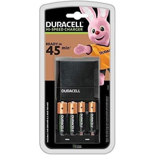 Duracell - Caricabatterie da 45 Minuti, con incluse batterie ricaricabili, 2 AA + 2 AAA