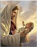 Phinli Puzzle De Madera para Adultos 1000 Piezas Jesús Y Bebé Pintura Al Óleo Pinturas Artísticas