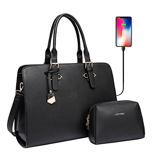 Laptop Tote Bag for Women, Extra Large Waterproof PU Leather Tote Bag for Women Work, Womens 15.6 Inch Laptop Purse/Business Bag/Messenger Shoulder Bag/Teacher Tote Bag/Laptop Briefcase Black