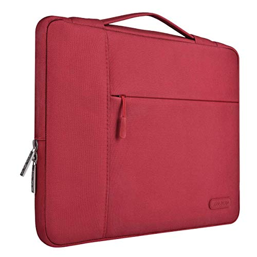 MOSISO Laptop Aktentasche Kompatibel mit 13-13,3 Zoll MacBook Air, MacBook Pro, Notebook Computer, Polyester Multifunktion Laptoptasche Aktentasche Handtasche, Rot