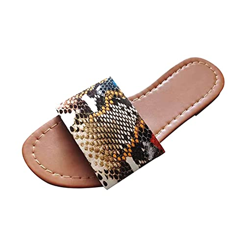 Yuanjay Women's Flat Shoes Non-Slip Quick Drying Open Toe Breathable Indoor Outdoor Diamond Slip on Slippers Brown 39