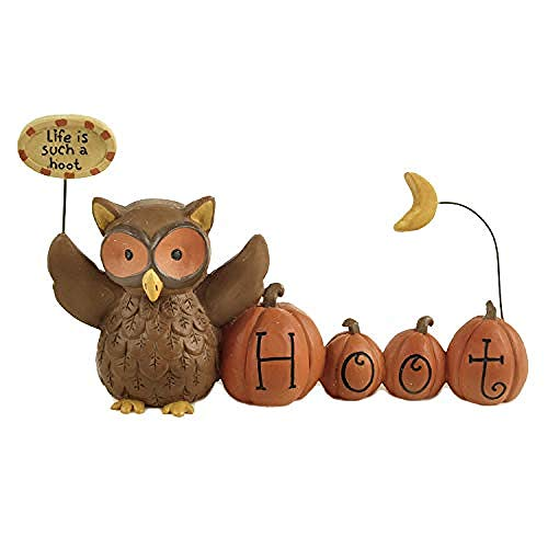 Standbeeld Beeldhouwwerk Woondecoratie Handgeschilderde Hars Uil Halloween Pompoen Tuindecoratie