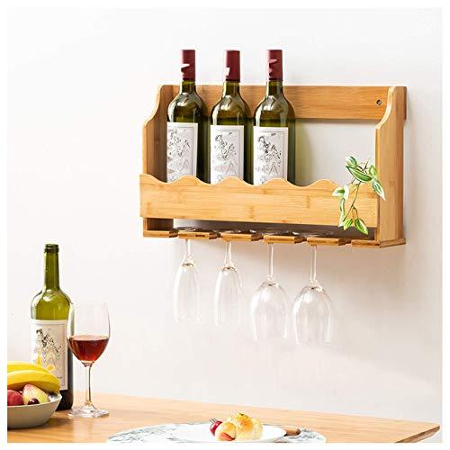FFAN Soporte de Madera para Botella de Vino y Copa de Vino, botelleros industriales rústicos montados en la Pared, decoración del hogar de la Barra, Cocina D & Eacute; Cor Good Life