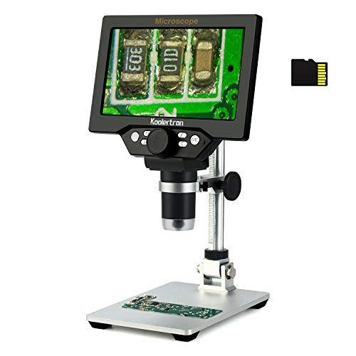 7 inch LCD Digital USB Microscope with 8G TF Card,Koolertron 12MP 1-1200X Magnification Handheld Camera Video Recorder,8 LED Light,Rechargeable Battery for Circuit Board Repair Soldering PCB Coins