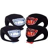 VeloChampion Juego de Luces Delanteras y traseras para Bicicleta (Rojo y Blanco) Brillantes con Carcasa de Silicona Resistente al Agua (2 Luces de Bicicleta)