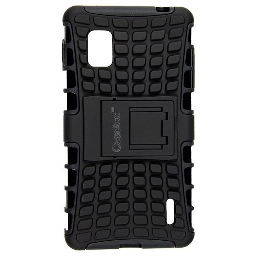 Casotec Rugged Armor Hybrid Kickstand Case Cover w/Free Screen Protector for LG Optimus G LS970 - Black