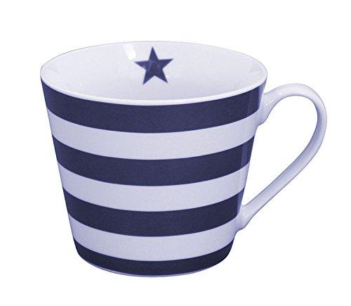 Krasilnikoff - Happy Cup - Tasse - dunkelblau mit weißen Streifen - Porzellan - H9 x Ø10 cm
