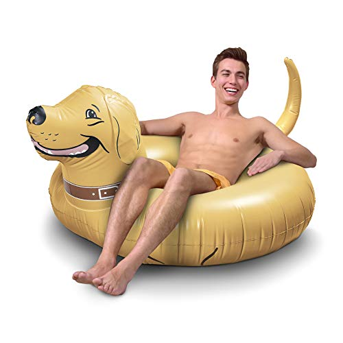 GoFloats Buddy The Dog Party Tube Inflatable Raft, Float in Style (for Adults and Kids), Gold