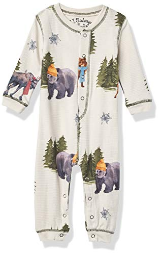 PJ Salvage Kids Baby Kids' Sleepwear Long Sleeve Thermal Romper, Stone, 6/12 mo