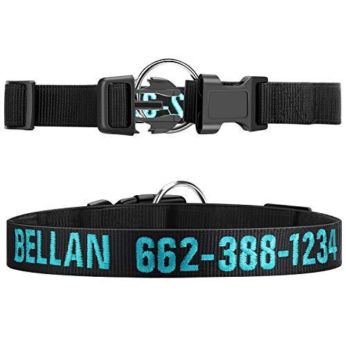 Collare per cani personalizzato, collari in nylon ricamati personalizzati per fibbia a sgancio laterale per cani, collari per cani base regolabili morbidi in neoprene per cani di taglia piccola media