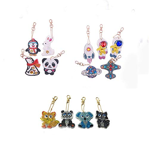 DIY Key Chain Diamond Painting Kits Easy DIY for Teenagers Kids Bag Accessories Pendant Charm Multiple Shapes of Diamonds Cartoon Animals and Spaceships and Cartoon Animals 13 Pcs by Megei