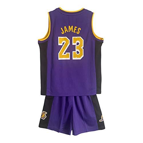 RAAVIN Lebron James # 23 Jersey Bambini Maglia Pantaloncini da Basketball Jersey Set di Abbigliamento Sportivo Maglie,Children Jersey,Pourpre(XXL)