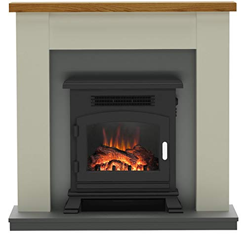 Be Modern 150738 Ravensdale Electric Suite in Stone, Featuring Country Oak Shelf, Antracite Back Panel and Inset Stove