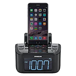 Sangean Compact AM/FM Dual Alarm Clock Radio with Large Easy to Read Backlit LCD Display & Lightning Connector Dock