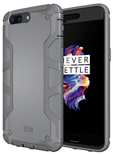 OnePlus 5 Funda, TUDIA Tough OMNIX [Heavy Duty] Ultra-Resistente Protección de Cuerpo Entero con Protector de Pantalla Incorporado Carcasas con Pata de Cabra para OnePlus 5 (Gris)