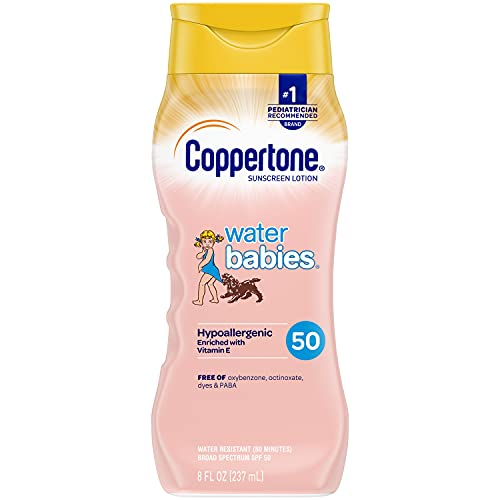 Coppertone WaterBabies SPF 50 Sunscreen Lotion, Pediatrician Recommended, Sunscreen Lotion for Kids & Babies, Broad Spectrum UVA/UVB Sun Protection, (8 fl. Oz.)