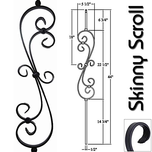 1/2' Iron Baluster Skinny Scroll (5-Pack) Stair Parts Hollow Metal Spindles - Stair Railing Scroll Wrought Iron Balusters (Real Satin Black not Matte)