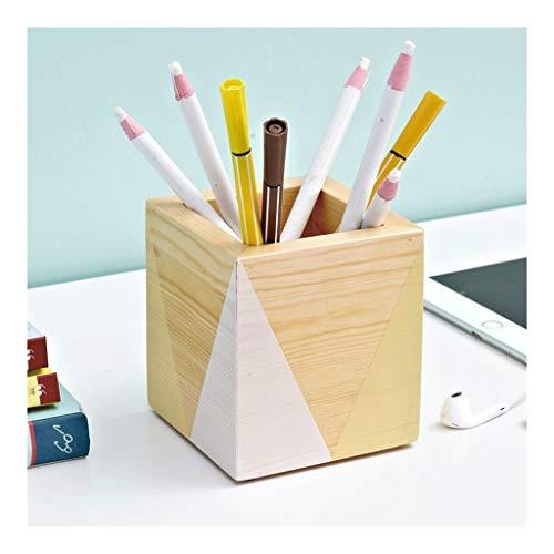 ZANZAN - Portalápices de madera maciza natural, organizador de lápices de escritorio de oficina, soporte para lápices de escritorio de 3,5 x 3,9 pulgadas (color: soporte para bolígrafos)