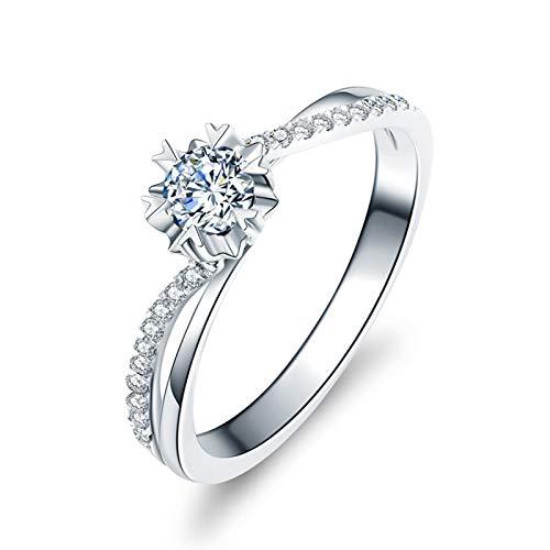 KnSam PT950 Platino Anillo, Anillo de Confianza Flor, Diamante F-G, Color Plata, Diamante Principal 0.3ct - Talla 27