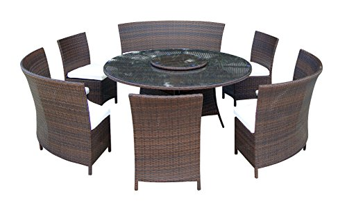 baidani Salon de Jardin Sets 10d00013.00002 Designer Timeless Salon de Jardin, 1 Table avec Plateau en Verre, 3 chaises, 2 Places, Coussins Assorties, Marron